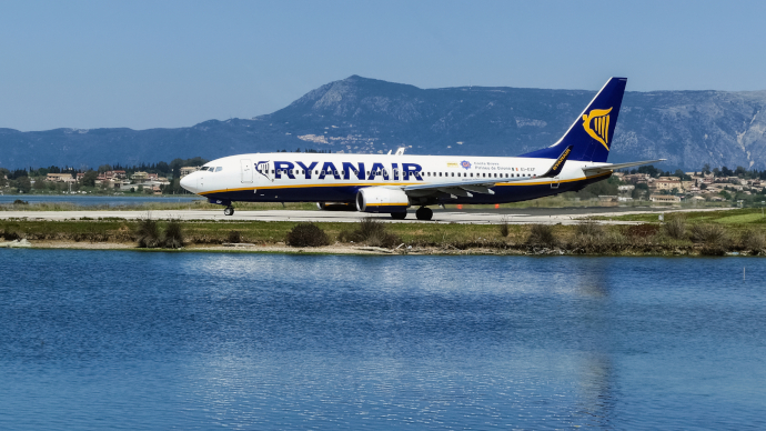 Corfu Airport is a focus city for Ryanair.